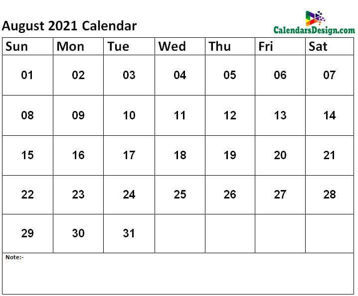 free Aug calendar 2021 printable
