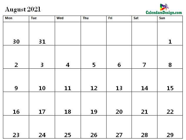 print August 2021 calendar in pdf