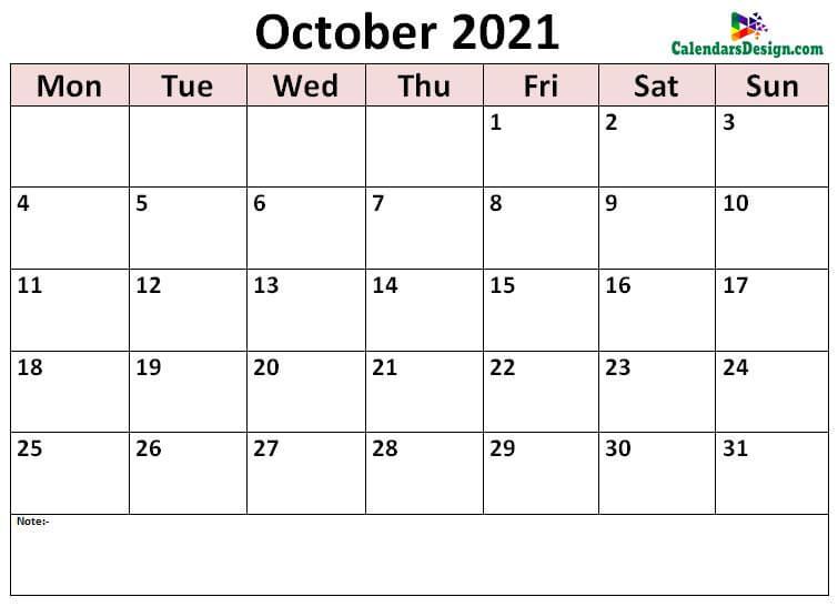 print October calendar 2021
