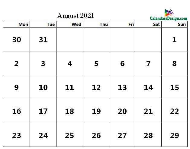 word calendar August 2021