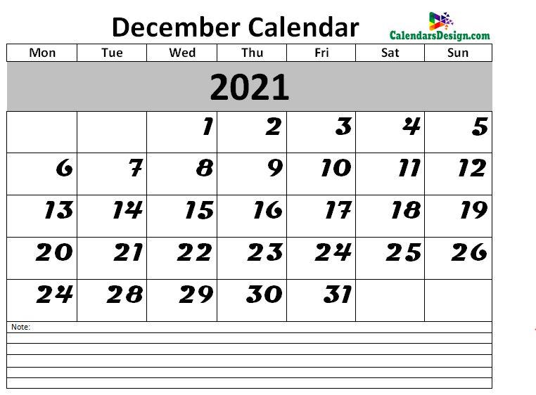 2021 Calendar December Excel Templates