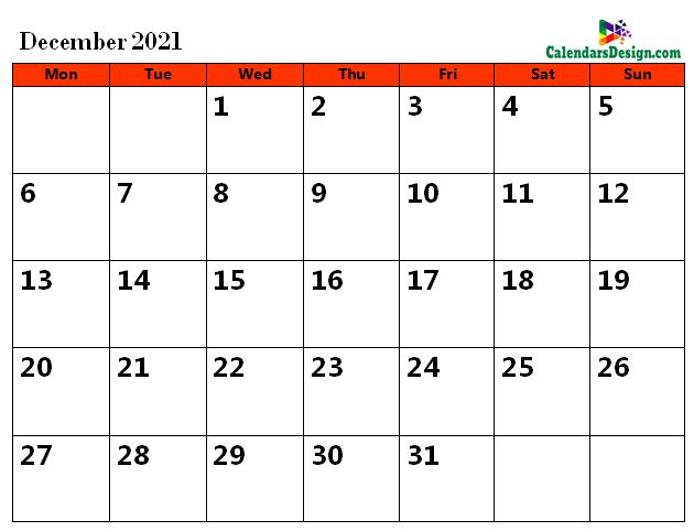 2021 December Calendar Holidays in Word