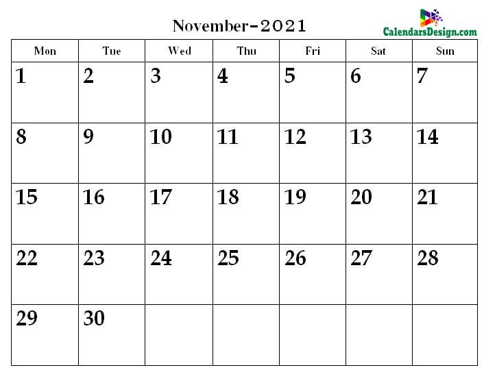 2021 November Printable Calendar PDF