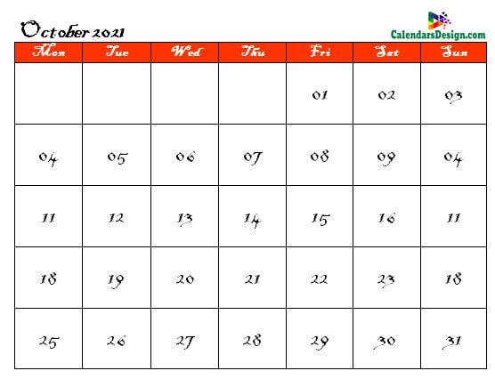 2021 October Calendar Holidays in Word