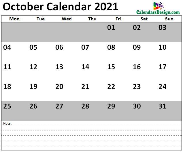 2021 October US Calendar