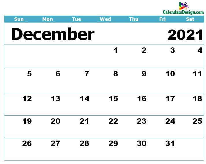 Calendar for December 2021 Excel to Print