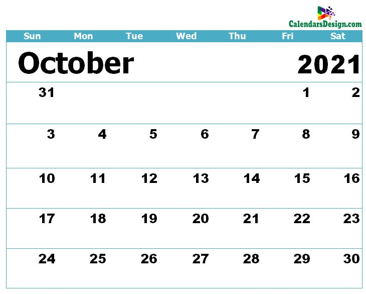 Calendar for October 2021 Excel to Print