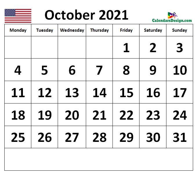 Calendar for October 2021 US