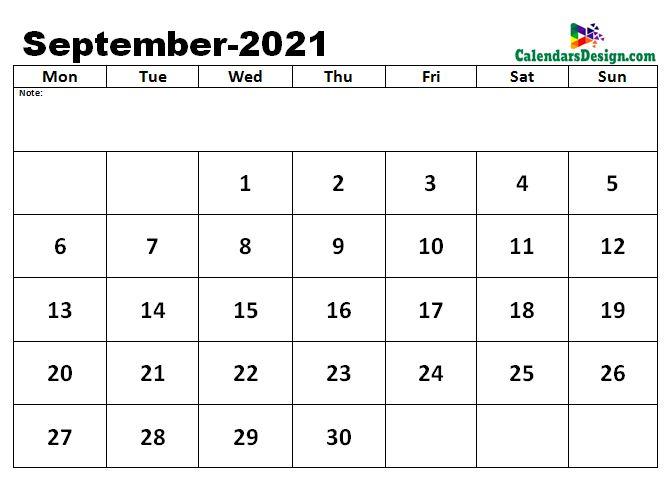 Calendar for September 2021 Excel to Print