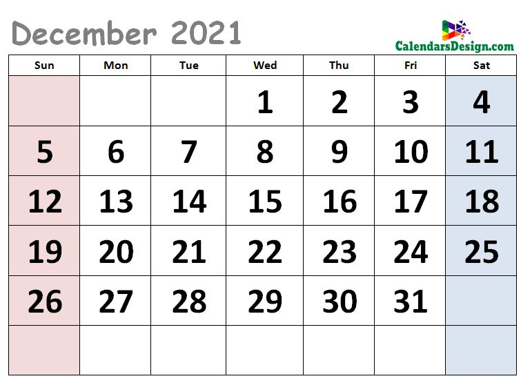 Cute Calendar for December 2021
