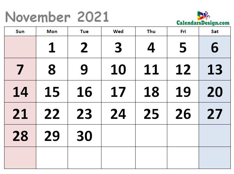 Cute Calendar for November 2021