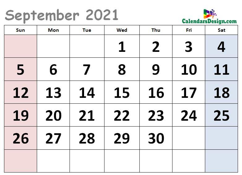 Cute Calendar for September 2021