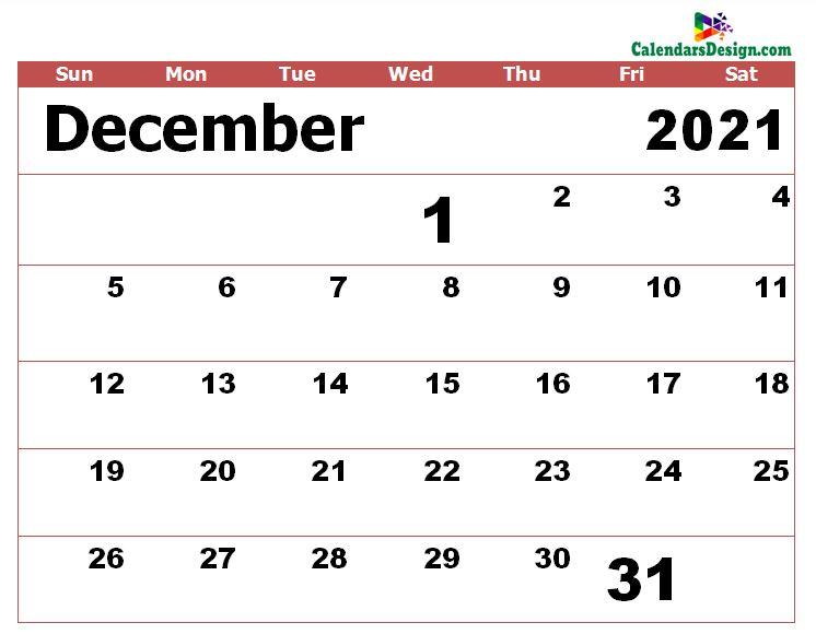 Dec 2021 calendar excel