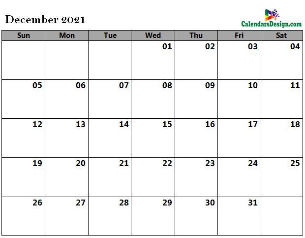 Dec 2021 calendar word doc