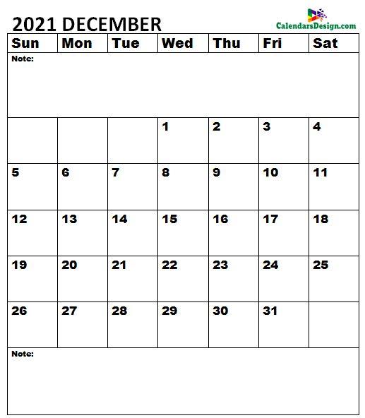 December 2021 Calendar A4 Size
