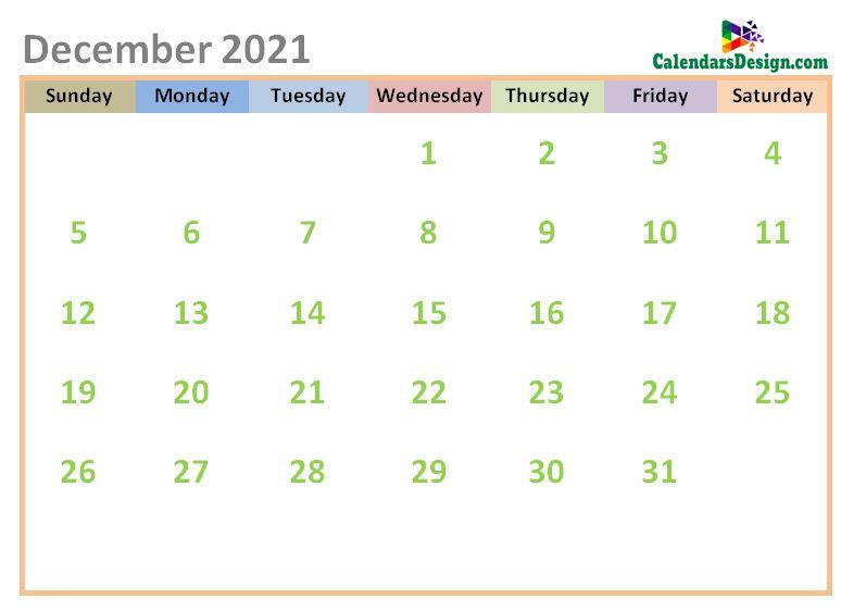 December 2021 Calendar Cute Designs