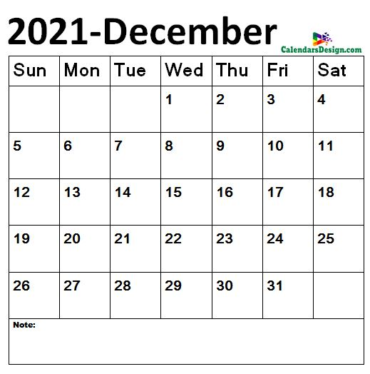 December 2021 Calendar Landscape