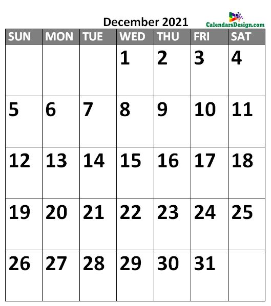 December 2021 Calendar Portrait