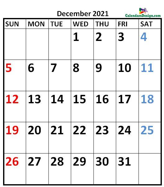 December 2021 Calendar Vertical