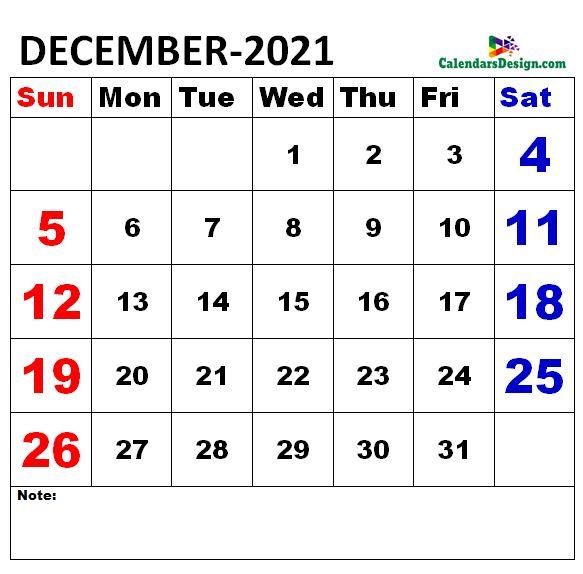 December 2021 Calendar doc