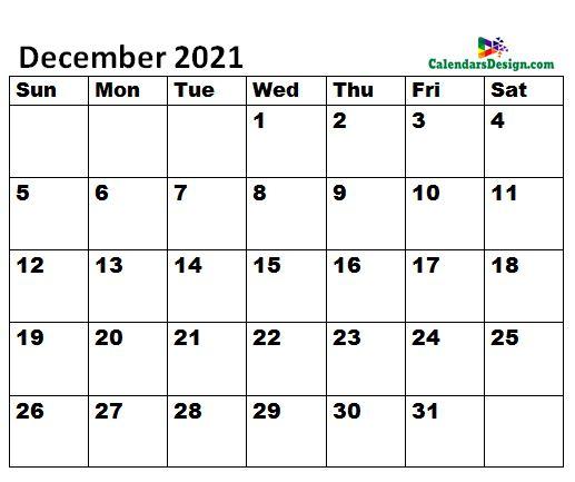 December 2021 Calendar letter