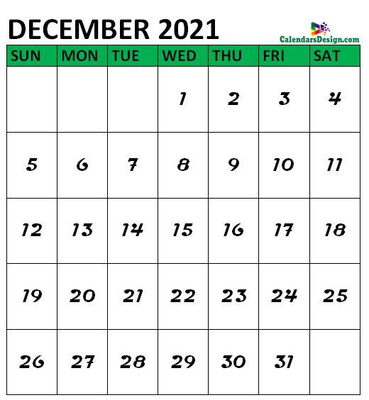 December 2021 Calendar notes