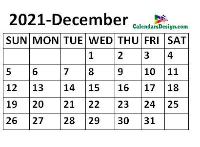 December 2021 Calendar small size
