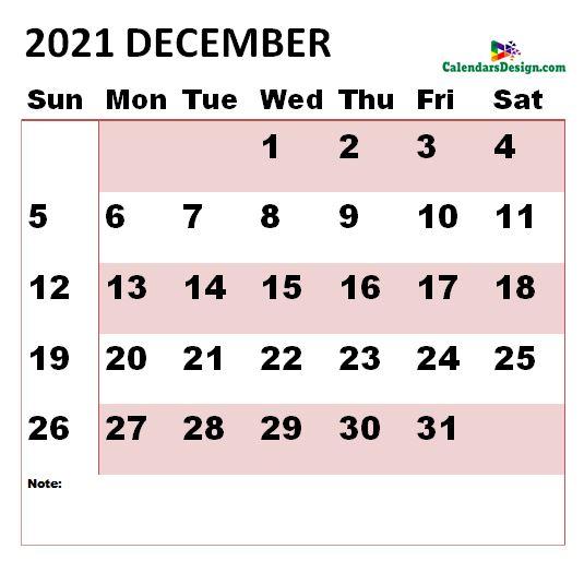 December 2021 Calendar vertex