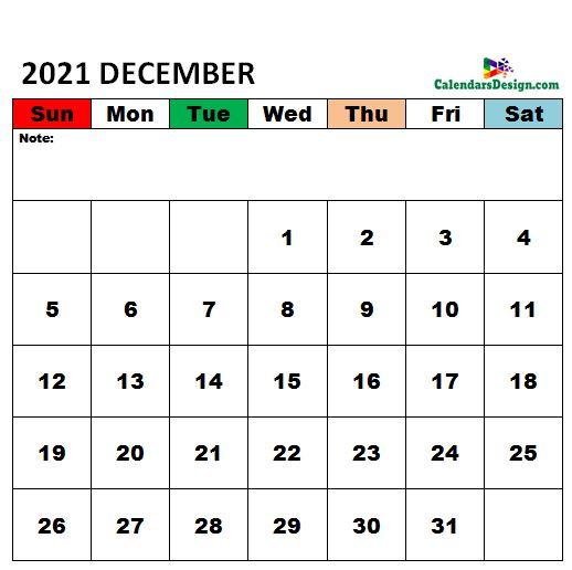 December 2021 Calendar xls