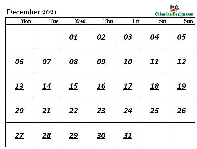 December 2021 calendar document