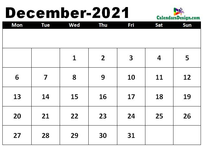 December 2021 calendar template in excel