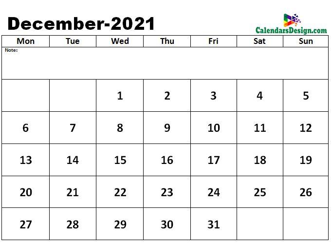 December 2021 excel calendar template