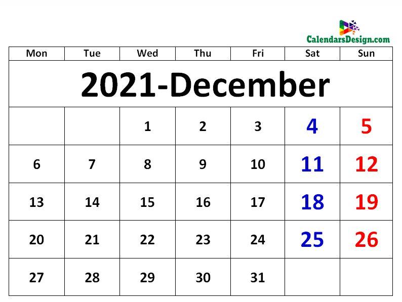 December 2021 excel calendar