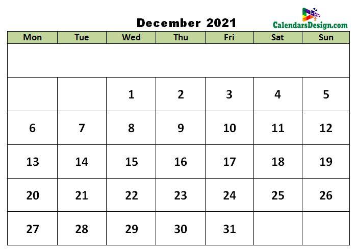 December 2021 excel template