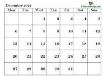 December Calendar 2021 PDF