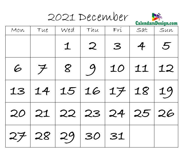 December Calendar 2021 in Excel Format