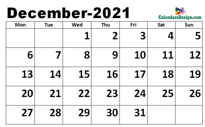 December calendar 2021 excel calendar
