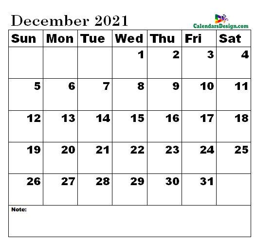 December calendar 2021 sizes