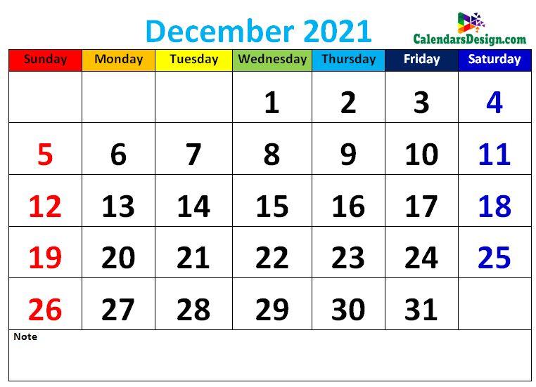 Decorative December 2021 Cute Calendar