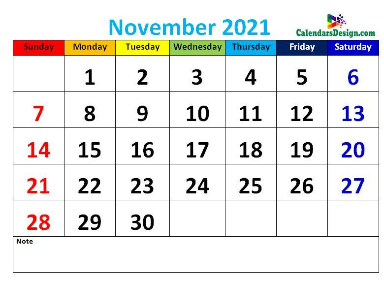 Decorative November 2021 Cute Calendar