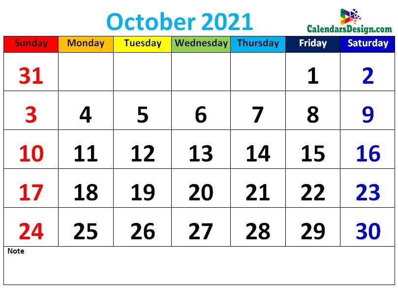 Decorative October 2021 Cute Calendar