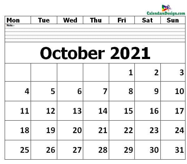 Editable October 2021 Calendar Blank Template