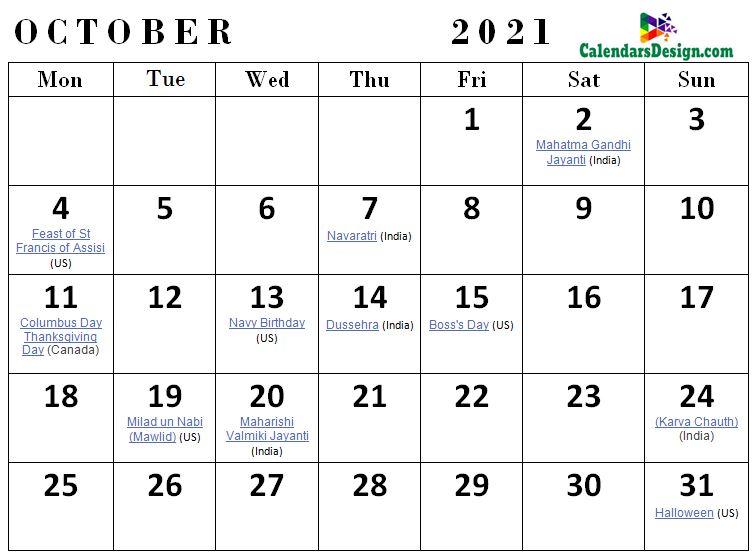 Holidays Calendar for October 2021