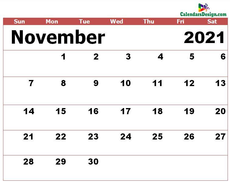 Nov 2021 calendar excel