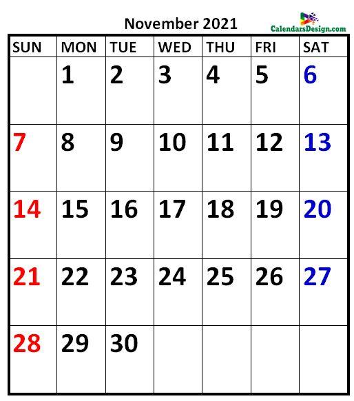 November 2021 Calendar A4 Size