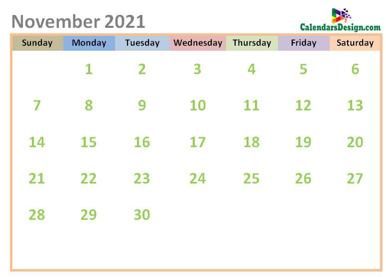 November 2021 Calendar Cute Designs