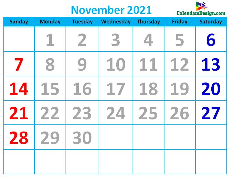 November 2021 Calendar Cute