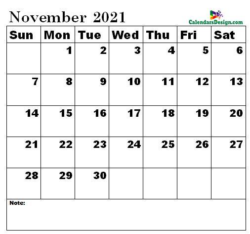 November 2021 Calendar Landscape
