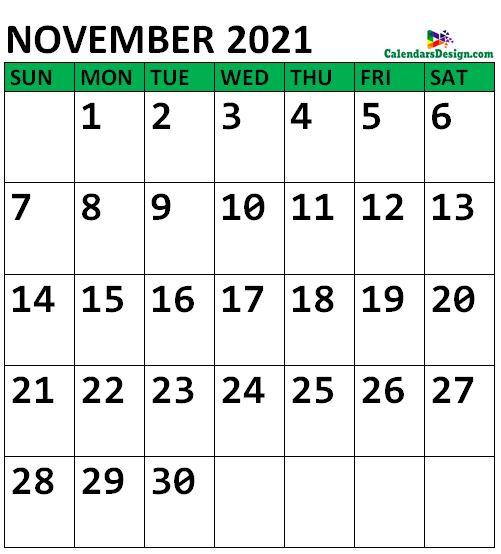 November 2021 Calendar Vertical