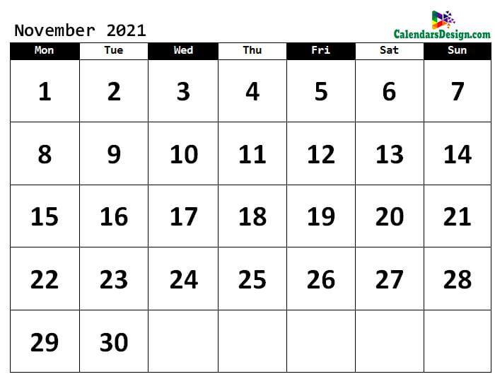 November 2021 Calendar in PDF